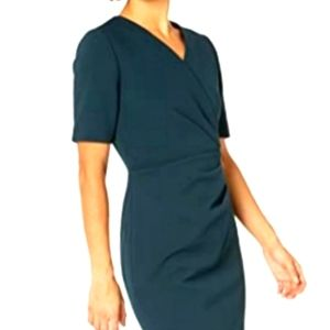 Tahari & ASL Emerald Green Faux Wrap Dress Sz 2